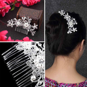 1pc Hot Selling Fashion Bridal Wedding Flower Crystal Rhinestones Pearls Women Hair Clip Comb,Hair Pin Accessories Jewelry