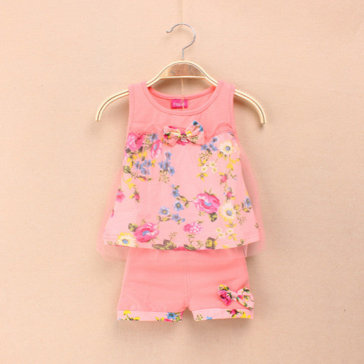 2016 Summer New Fashion Baby Girls Kids Outfits Suits Tops Shorts Bow Tulle Suit  2-5Y