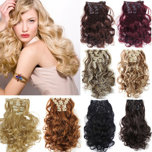 22 Colors!!! Free Shipping 50cm 20inch 7pcs/Set Curly Hair Extension Hairpiece Hair Weave Synthetic Clip In Hair Extensions