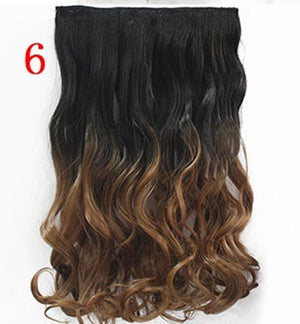 "24"" 60cm Curly Wavy Hair Extention 3/4 Full Head Clip in Hair Extensions Curly Ombre Hairpiece 6 Color Free Shipping"