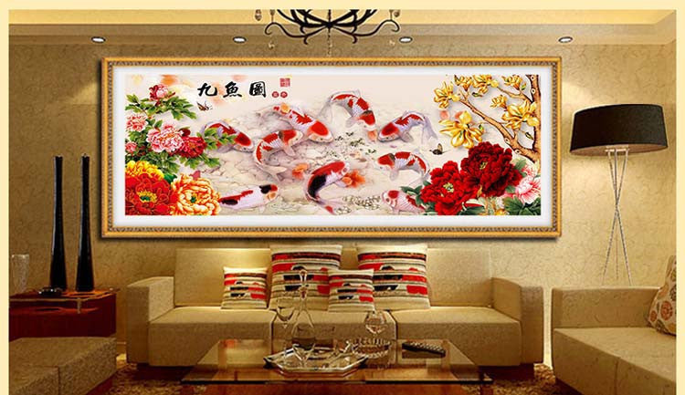 Diamond embroidery 5D Diy diamond Painting Nine fish picture Needlework cross stitch diamond mosaic home decor wall sticker gift