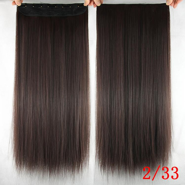 Women Hair Extensions Black Brown Blonde Natural Straight 60cm Long High Tempreture Synthetic Woman Hair Extension Hairpiece