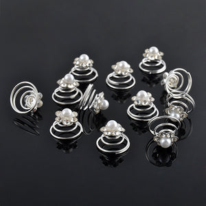 12Pcs/Set Wedding Bridal Silver Diamante Crystal Hair Twists Swirls hairPins Spirals Flower  Hairwear Jewelry Hair Accessories