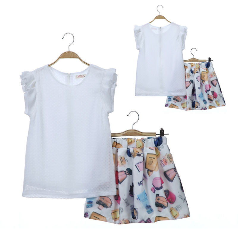 Baby Girls Clothing Set 2016 Kids Toddler T-shirt Tank Tops + Skirt 2PCS Set Outfits Clothes
