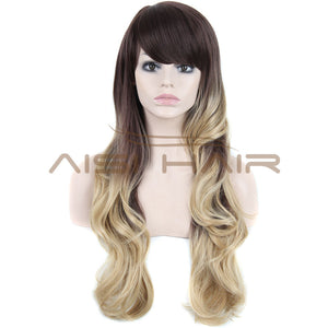 cheap synthetic Hair wigs two-tone Fashion ombre wigs celebrity wig for women big wave female wavy wig Heat Resistant wholesale