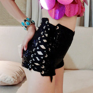 2016 High Waist Shorts Sexy Fashion Women Shorts Black Summer Plus Size Jeans Cool Black
