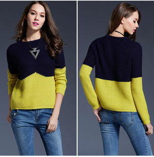 2016 Sweater Women Knitted Sweater Short Contrast Color Splice Sweater For Women Simple Slim Pullover Maglioni Donna