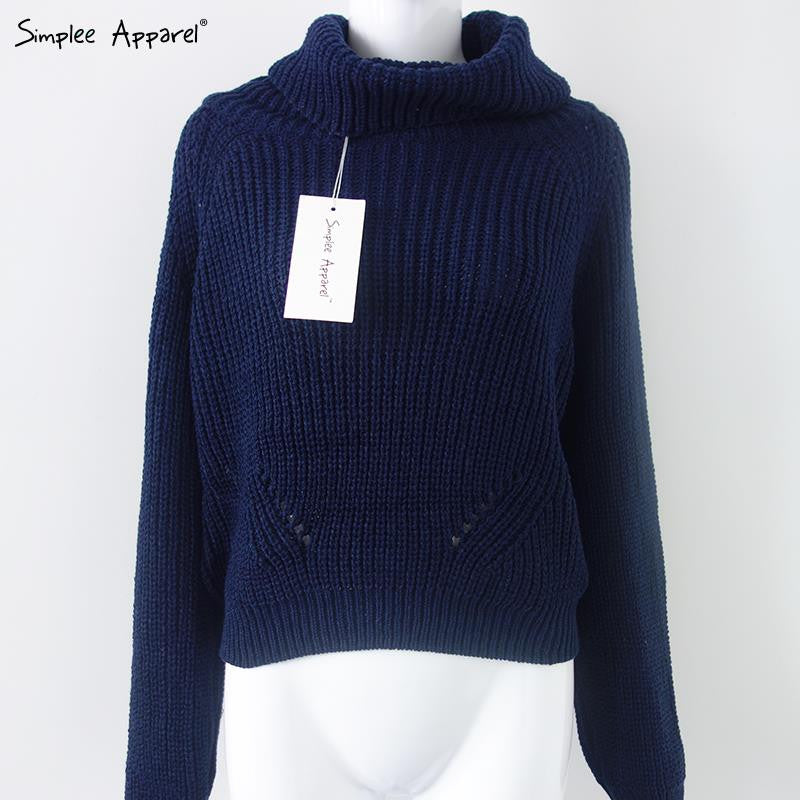 Autumn Winter turtleneck sweater short pullover women Tricot white knitting wool jumpers Pull femme oversized