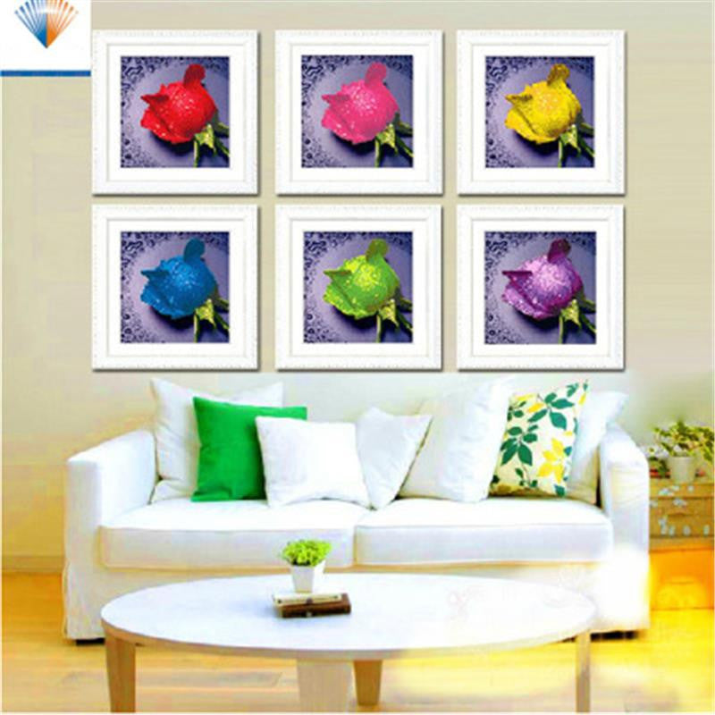 3D DIY Diamond Painting 7colors of roses round rhinestone pasting decorative painting diamond embroidery mosaic needlework