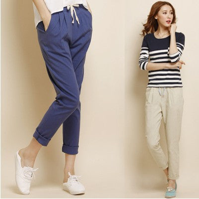 In Summer 2016 Fashion Linen Haren Nine Elastic Waist Pants All-Match Loose Pantalon Candy Colored Women's Casual Pants Trousers