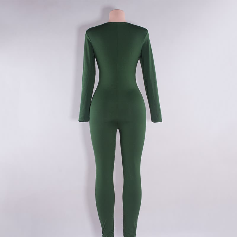New Rompers Backless women jumpsuits 2017 LATEST tight long pants Sexy v-neck Bandage jumpsuit upper outer garment green/black