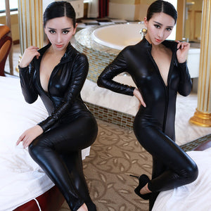 2017 Hot Lady Sexy Leather Latex Zentai Catsuit Smooth Wetlook Jumpsuit Front Zipper Elastic Valentine's Day Party Clubwear