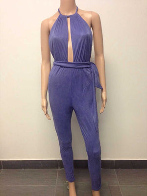 2017 Rompers Women Jumpsuit Summer Style solid purple Casual Overalls stylish backless Jumpsuit long Feminino Macacao