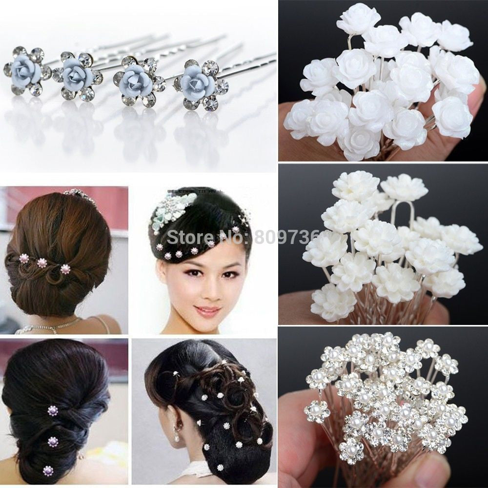20/40PCS Wedding Bridal Pearl Hair Pins Flower Crystal Hair Clips Bridesmaid Jewelry 5 Styles hairpin Free Shipping