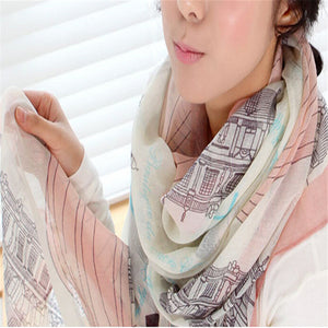 New Fashion Bohemian Beach Voile Soft Long Scarf Women Eiffel Tower Printed Wrap Shawl Stole Scarves
