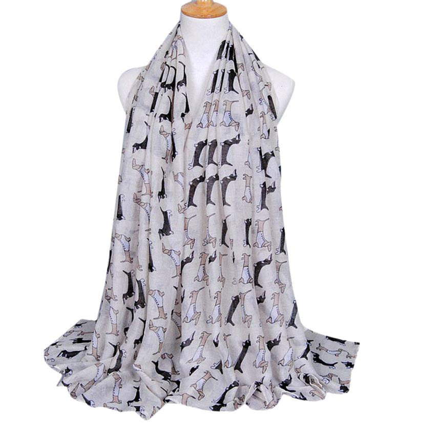 Newly Design Women's Fashion Accessories Dachshund Dog Print Long Voile Scarf Shawl Scarves