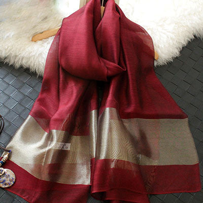 New Silk Women Scarf 12 Colors Fashion Black Stitching Gold Silk Scarves Long Section Soft Shawl Fashion Muffler