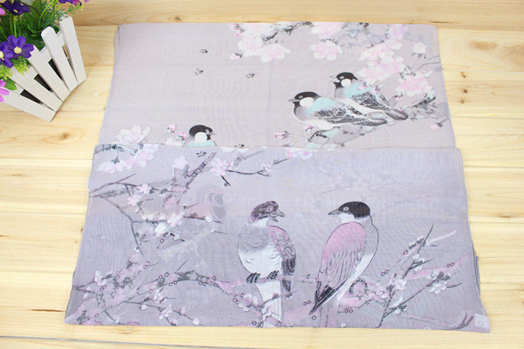 New 2016 Fashion Soft Thin Chiffon Silk Scarf Women Animal Bird printed Scarves Foulard Sjaal Cachecol Feminino