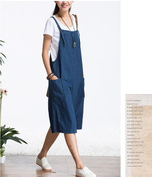 Retro Women Capris Loose Large Size Female Jumpsuit Denim Pants Big Pocket Blue Jeans Casual Fashion Trousers Pants