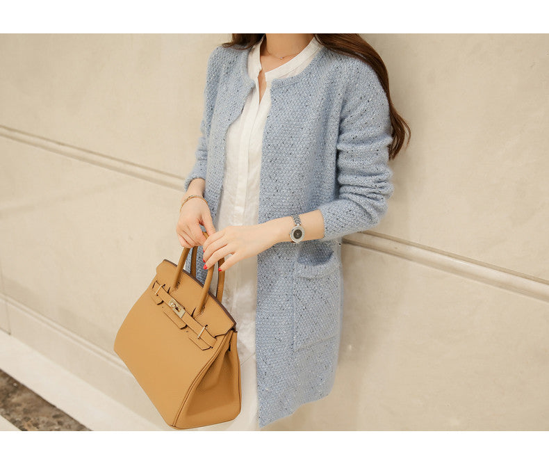 Autumn Female Sweater Coat Han Edition Long Round Collar Loose Pocket Knit Cardigan Women Sweater