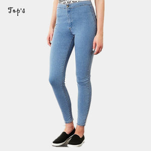 2016 New Arrival Woman Denim Pencil Pants Top Brand Stretch Jeans High Waist Pants Women High Waist Jeans
