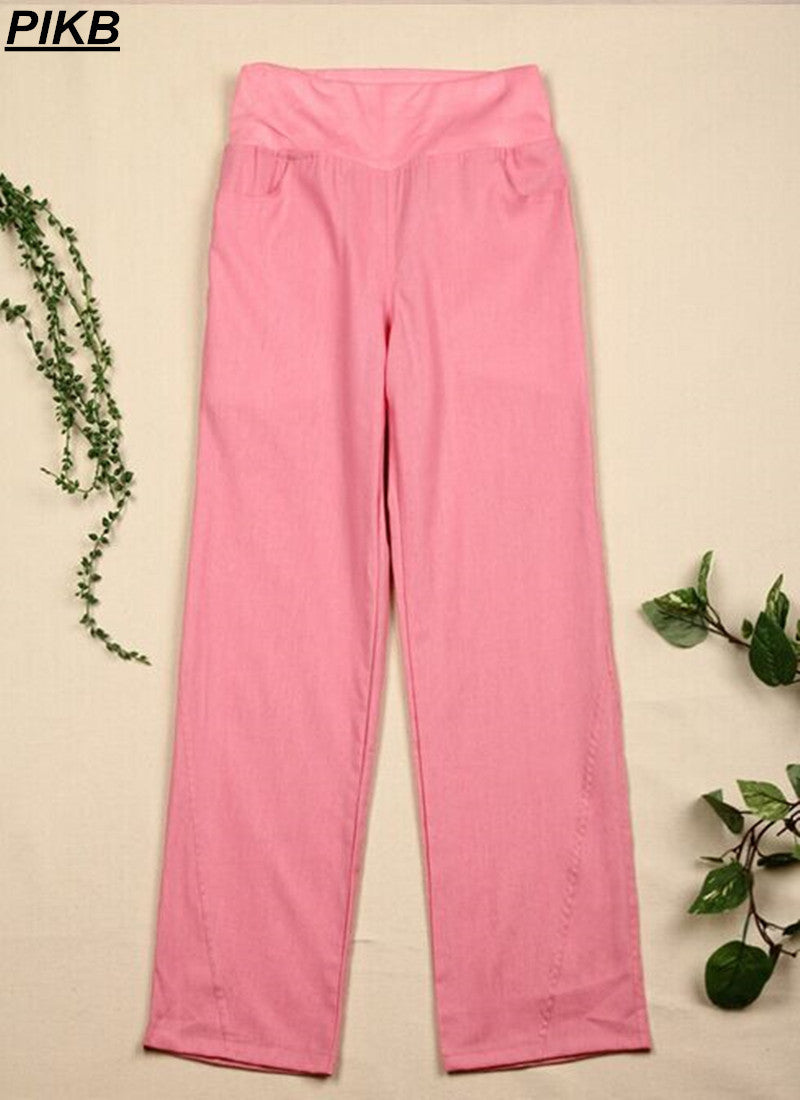 PIKB 2016 Better Updated Linen pants elastic waist wide leg pants casual pants top straight pants loose trousers