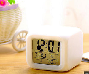 7 LED Colors Changing Digital Alarm Clock Desk Gadget Digital Alarm Thermometer Night Glowing Cube LCD Clock