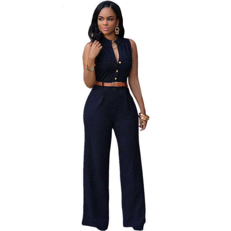 Summer Jumpsuit Monos Mujer Largos 2016 Plus Size Romper Casual Belted Wide Leg Jumpsuit 60932 Macacao Feminino
