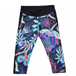 New Arrival 2016 women's 7 point pants Fashion Painted tree paintings digital print women high waist Side pocket phone pants