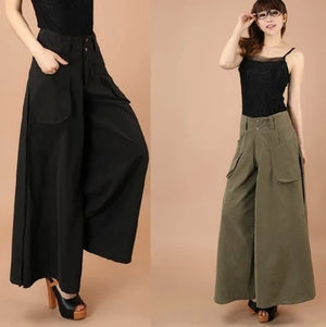 1Pcs Women Pants Falda Pantalon 2016 New Brand Design Wide Leg Pants S--8XL Larger Size Thin Women Trousers Cotton