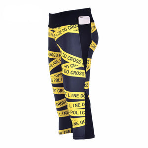 2016 Women's 7 point pants women legging Yellow warning strip digital print women high waist Side pocket phone pant