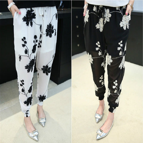 2016 Fashion Summer Women Haren Pants Thin Chiffon Trousers Loose Leisure Pants Out Wear Plus Size Embroidery Asymmetry Pants