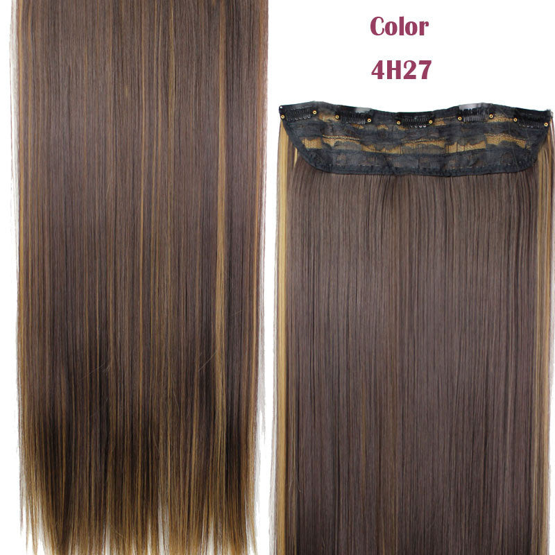 23inch 120g Straight Clip in False Hair Pad Synthetic Hair Styling 5 Clip in Hair Extension One Piece 613 Blonde Fake Hair Piece