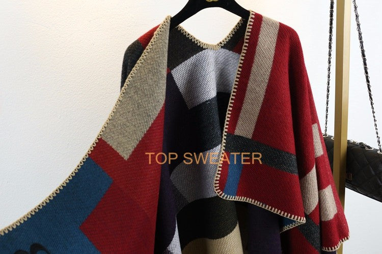 Oversized Sweater Cardigan 2016 Olivia Palermo Runway Catwalk Street Snap Knitted Cardigan Plaid Cape Poncho Shawl Women Lady