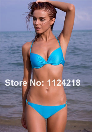 2016 Fashion Sexy Women Push Up  Padded Swimwear Swimsuit Bandeau Bikini Set Beachwear 8 Colors