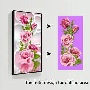 5D Needlework Diy Diamond Painting Cross Stitch Pink Rose Diamond Embroidery Flower Vertical Print round Drill Home Decor