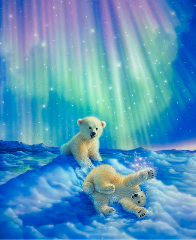 3d Full Diamond Embroidery Home Decor Diamonds Mosaic Painting Pasted Pictures Square Drill Northern Lights Baby polar bear