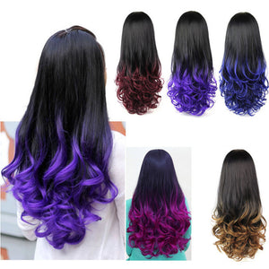 10 Colors 28'' 280g Women's 3/4 Full Head Long Wavy Wig, Curly Ombre Synthetic Half Wig Wavy Heat Resistant Synthetic Wigs - Gifts Leads
