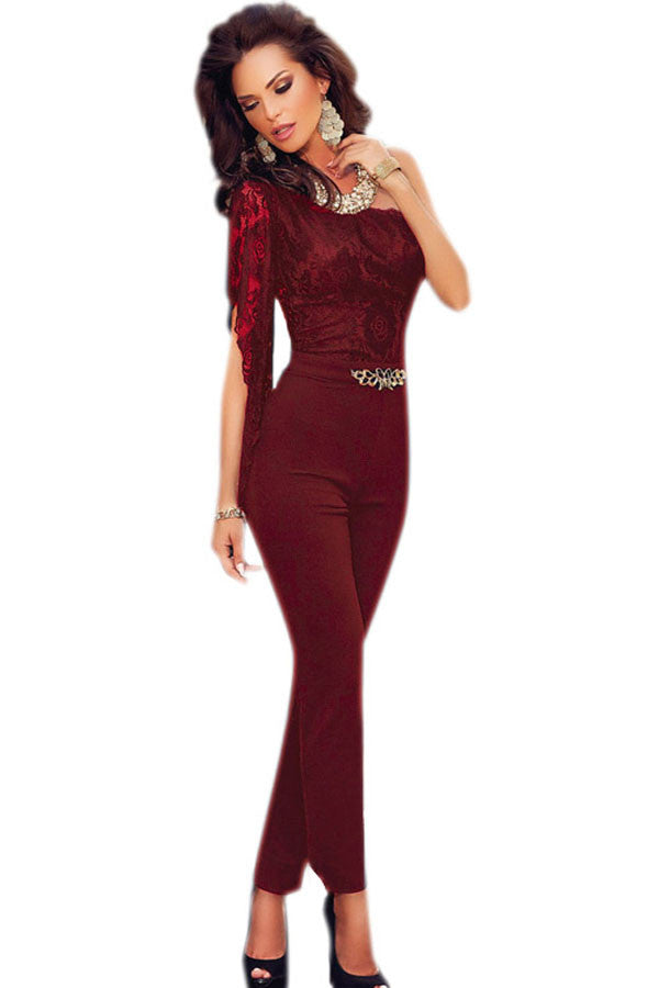 Feminino 2017 autumn Asymmetric One Sleeve Lace Bodice Jumpsuit body suits rompers overall for women