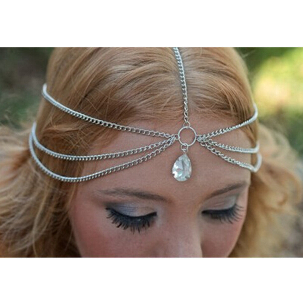 Gold/Silver Teardrop Crystal Hairband Hair Accessories Crown Jewelry Headband Styling Tools Chain Head Summer Style