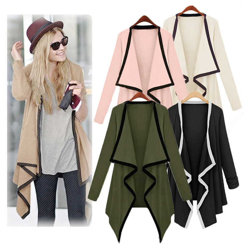 2016 Fashion Womens Long Sleeve Irregular Hem Cardigan Female Long Knitting Sweater Asymmetrical Poncho Sweater Outerwear Coat