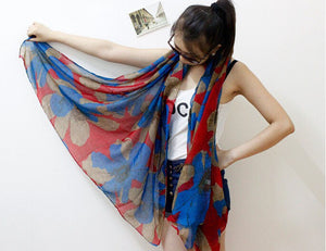 1PC 100*180cm New Fashion  Hot sale big Flower Peddles Printed ,winter scarf,women scarf