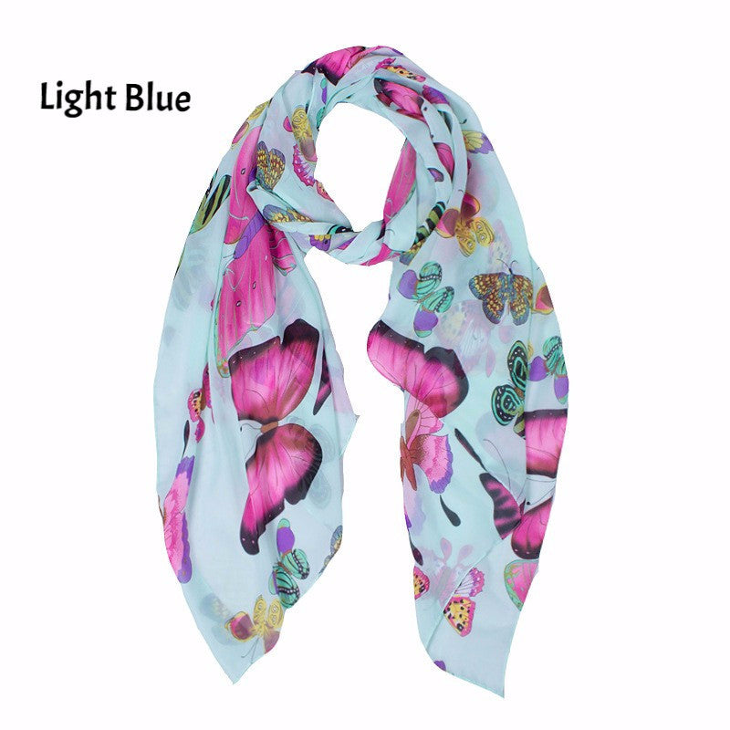 New Fashion Women Lady Winter Classic Butterfly Print Shawls Scarf Scarves Chiffon Soft Long Scarf Size160*45cm