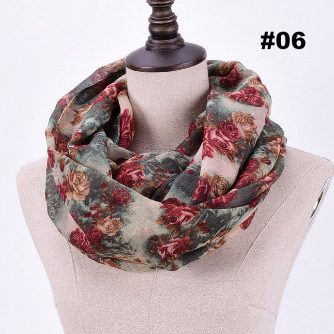 2016 Women Flower Loop Scarf Female Small Rose Print Chevron Ring Scarves Winter Plants Infinity Shawl Wrap