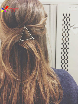 2016 Women's Christmas gifts fashion gold silver plated metal triangle hair clip jewelry for women accessories pinzas de pelo