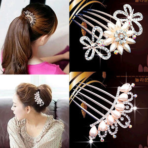 Bride Hairpin Peacock pearl flowers Wedding crystal rhinestone pearl flower hairpin diamante clip hair comb pin comb