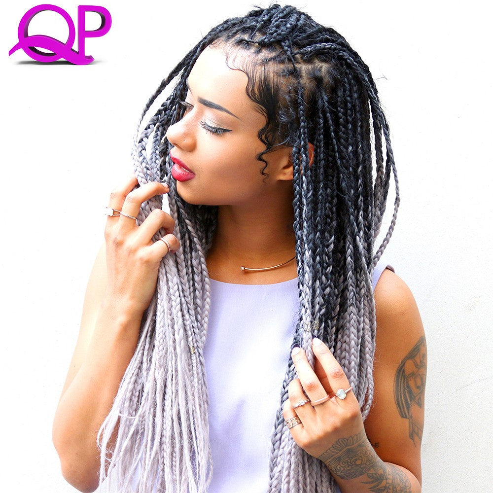 "24"" 100g Silver Ombre Braiding Hair Kinky Twist Hair Two Tone 100g/5pcs Jumbo Braid Synthetic Braiding Hair Highlights For Hair"