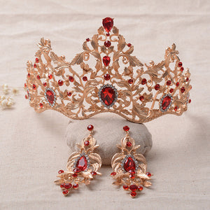 2016 New Fashion Magnificent Red Crystal Bridal Tiaras Green Crystal Wedding Crown for Bride Wedding Pageant hair Accessories