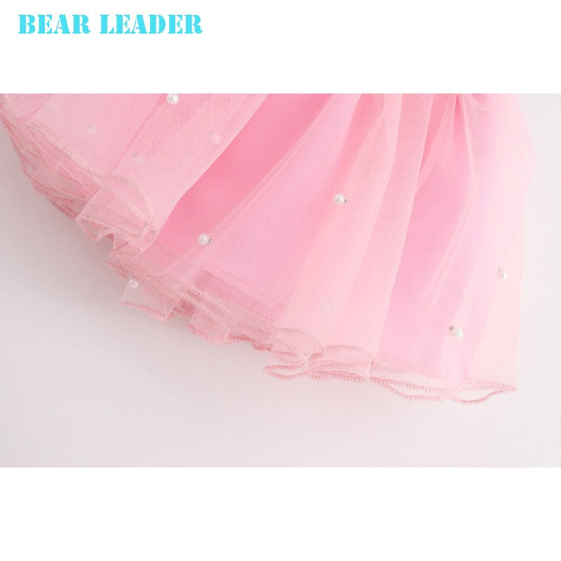 Bear Leader Girls Clothing Sets New Summer Fashion Style Cartoon Kitten Printed T-Shirts+Net Veil Dress 2Pcs Girls Clothes Sets