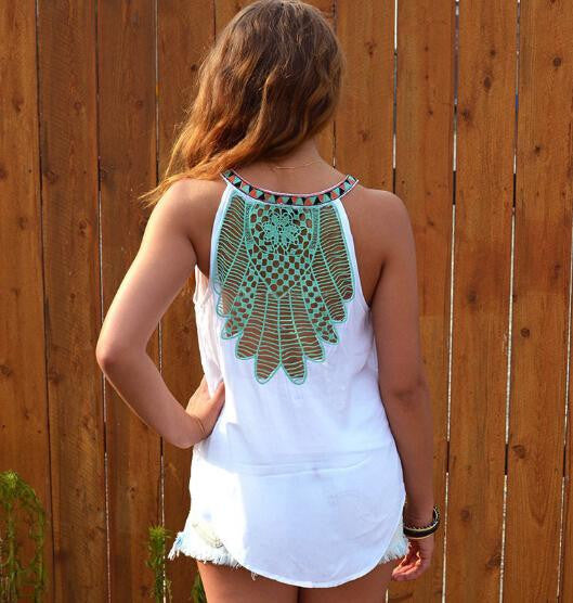 White Hollow Out Floral Embroidery Ethnic Women Tank Round Neck Summer Casual Cute Camis Beach Vest Tee Fashion Lady Top